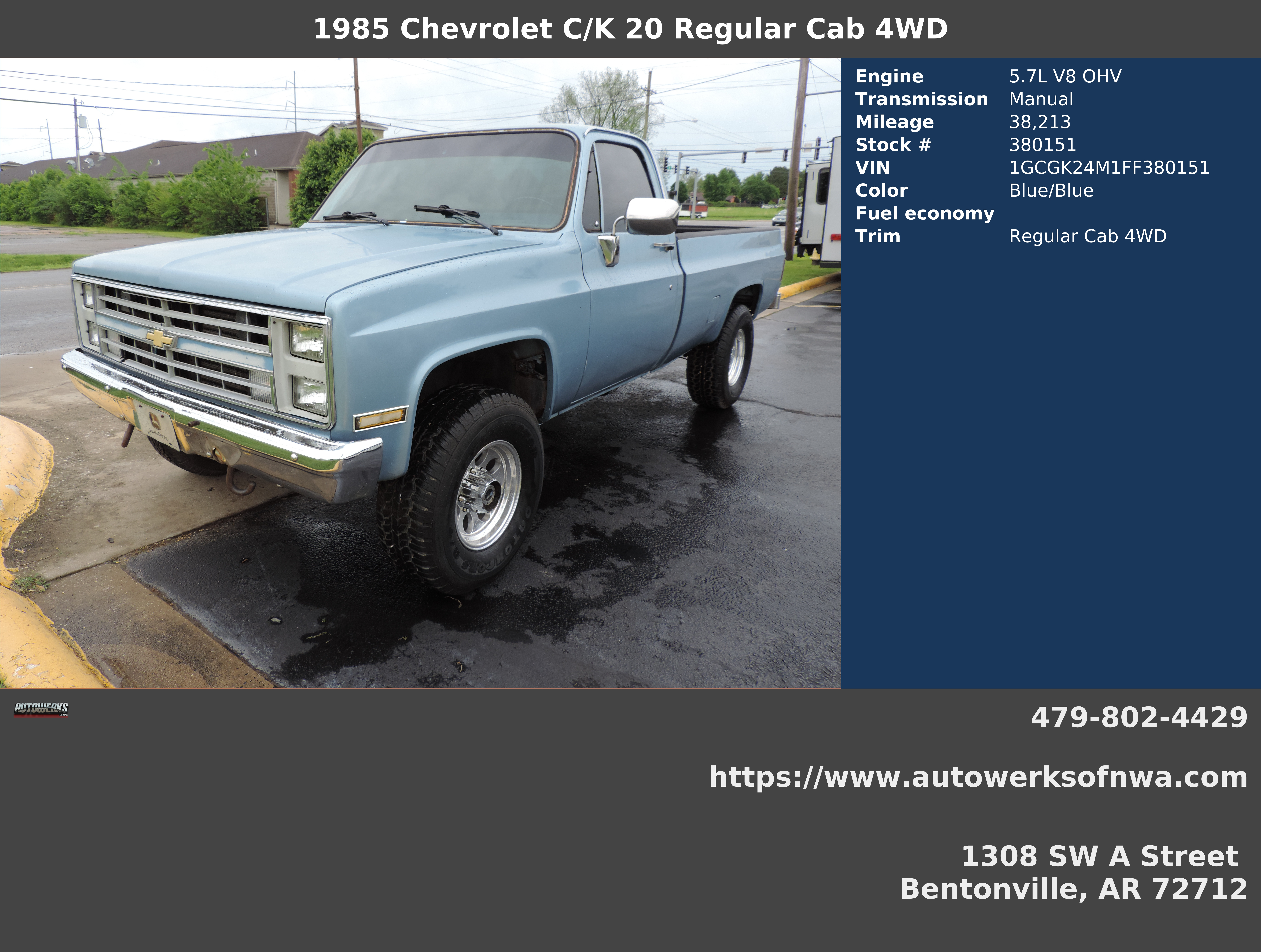 Autowerks of NWA | Used 1985 Blue Chevrolet C/K 20 For Sale